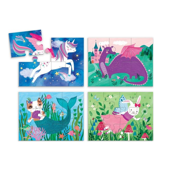 4-in-a-box Puzzel Magische vrienden | Mudpuppy