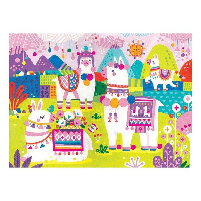Fuzzy Puzzel – Lama Land 42 stukken | Mudpuppy