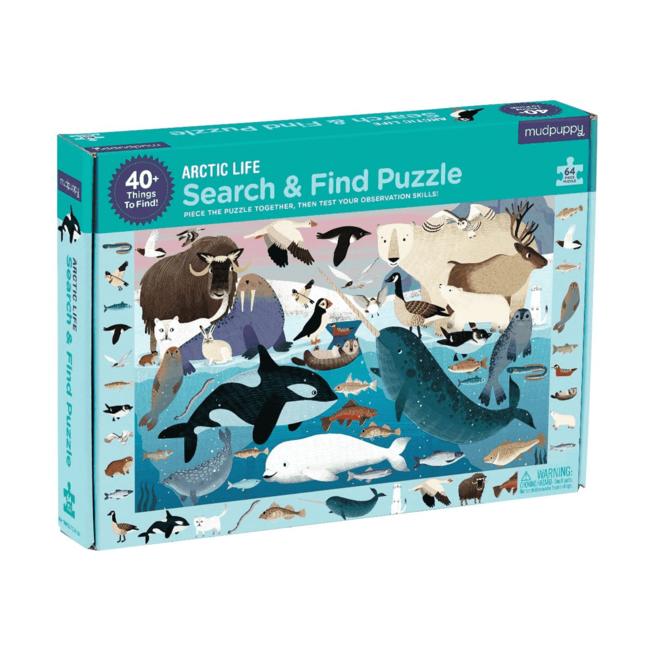 Mudpuppy Zoek & Vind Puzzel Artic Life – 64st | Mudpuppy