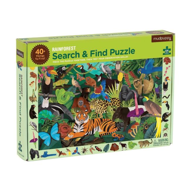 Mudpuppy Zoek & Vind Puzzel Regenwoud – 64st | Mudpuppy