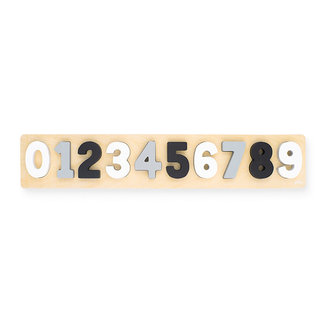 Jollein Puzzel hout cijfers 1-9 grijs-wit| Jollein