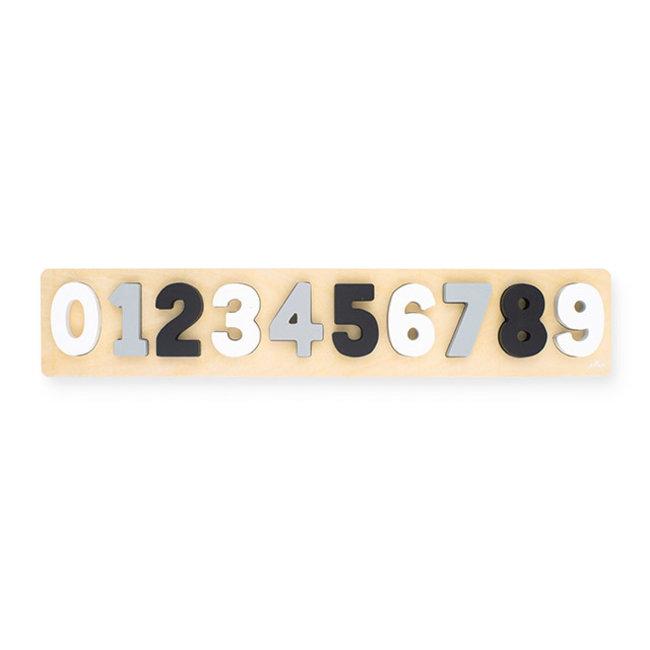 Puzzel hout cijfers 1-9 grijs-wit  Jollein