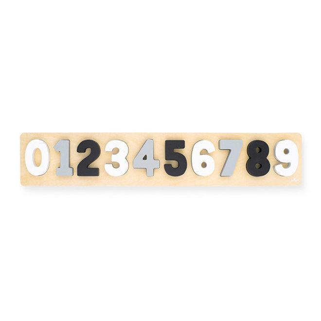 Puzzel hout cijfers 1-9 grijs-wit| Jollein