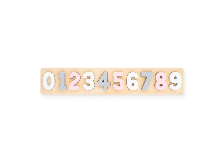 Puzzel hout cijfers 1-9 roze-wit | Jollein