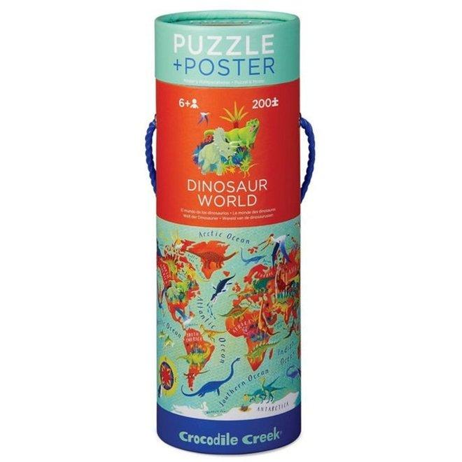 Puzzel & Poster Dinosaurus Wereld – 200 stukken   Crocodile Creek