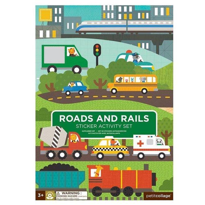 Stickerboek - Roads & Rails   Petit Collage