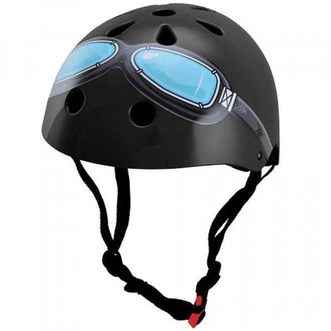 Skate- & fietshelm Zwart met bril   Kiddimoto