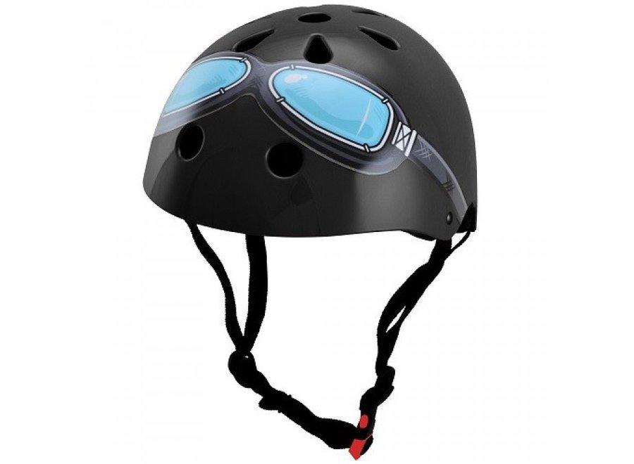 Skate- & fietshelm Zwart met bril | Kiddimoto