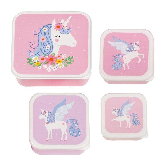 A Little Lovely Company Lunch & Snackbox set: Unicorn | A little lovely company