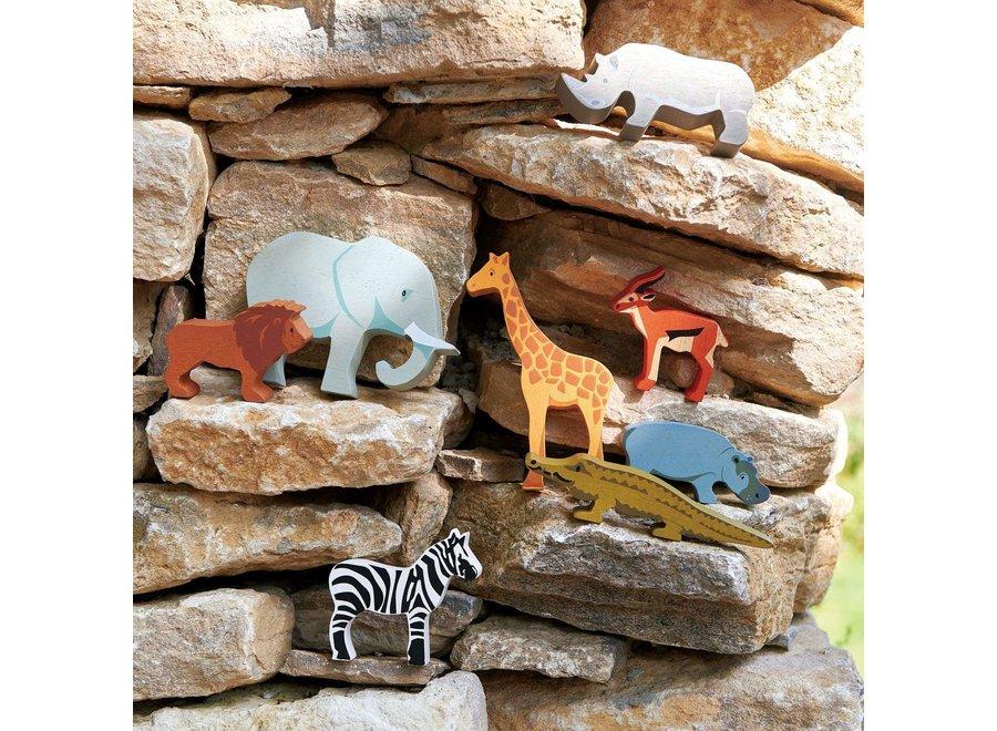 Set houten Safaridieren met display | Tender Leaf Toys