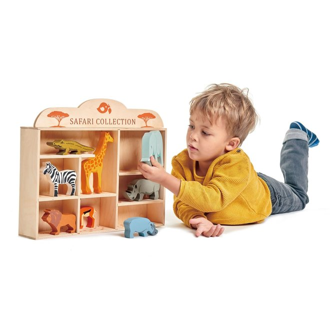 Set houten Safaridieren met display   Tender Leaf Toys