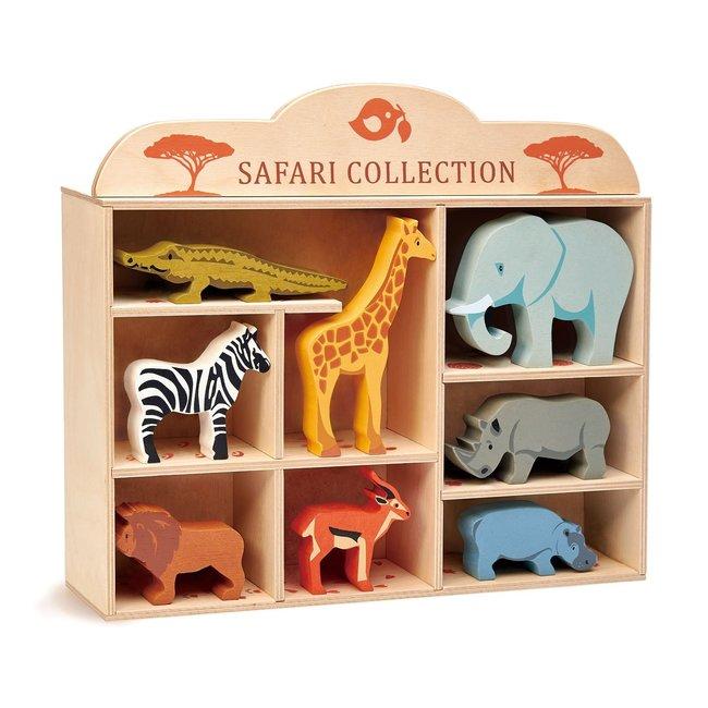 Tender Leaf Toys Set houten Safaridieren met display | Tender Leaf Toys
