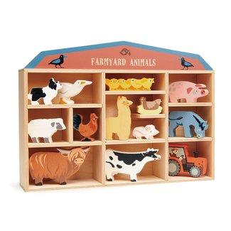 Tender Leaf Toys Set houten Boerderijdieren met display   Tender Leaf Toys