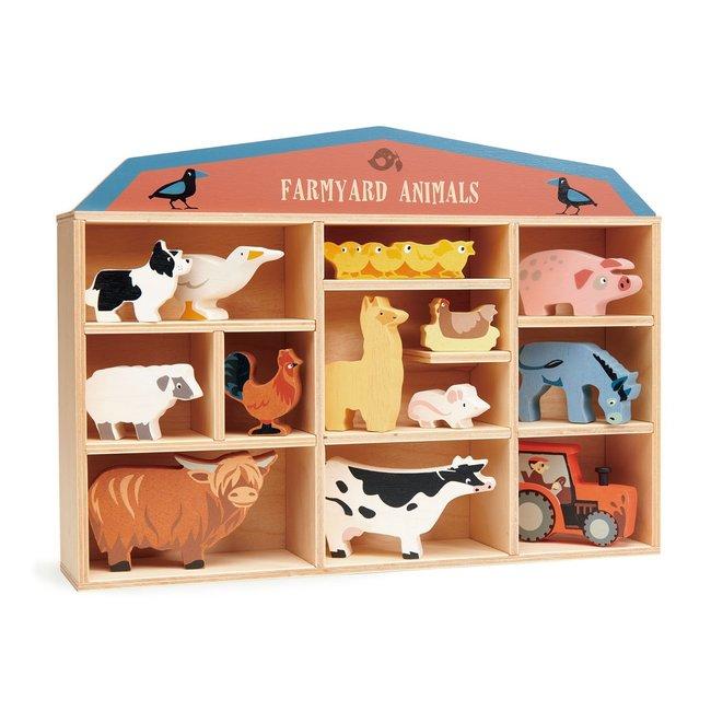 Tender Leaf Toys Set houten Boerderijdieren met display | Tender Leaf Toys
