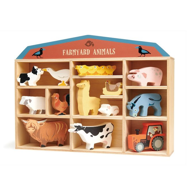 Set houten Boerderijdieren met display   Tender Leaf Toys