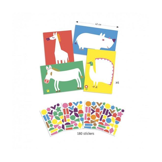 Knutselset Creëren Met Stickers - Grote Dieren| Djeco