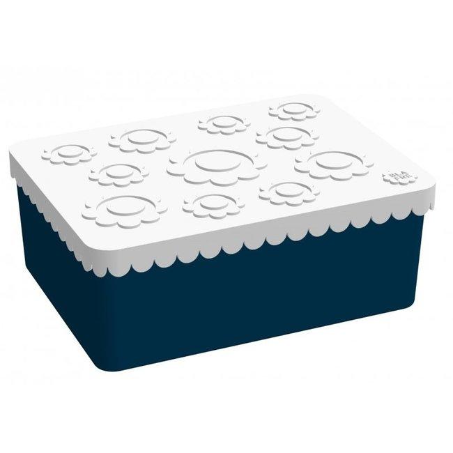 Brooddoos / Lunchbox  Flower Wit/Navy   Blafre