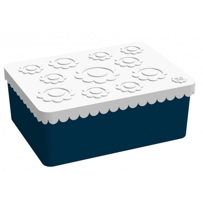 Brooddoos / Lunchbox  Flower Wit/Navy | Blafre