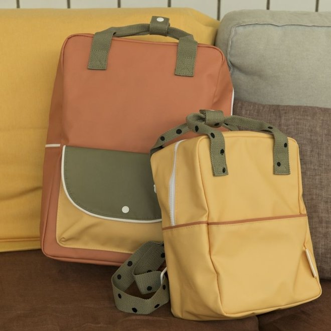 Rugzak Large Wanderer faded orange + seventies green + retro yellow | Sticky Lemon