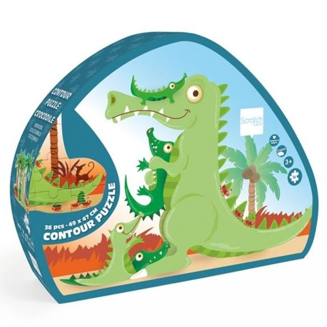 Scratch Contour Puzzel Krokodil 36 stukken