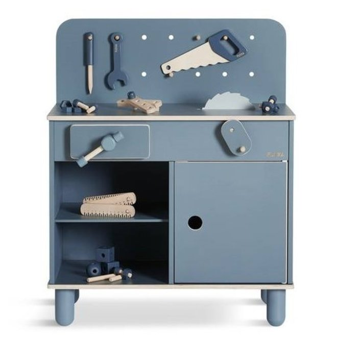 Houten Werkbank Donkerblauw