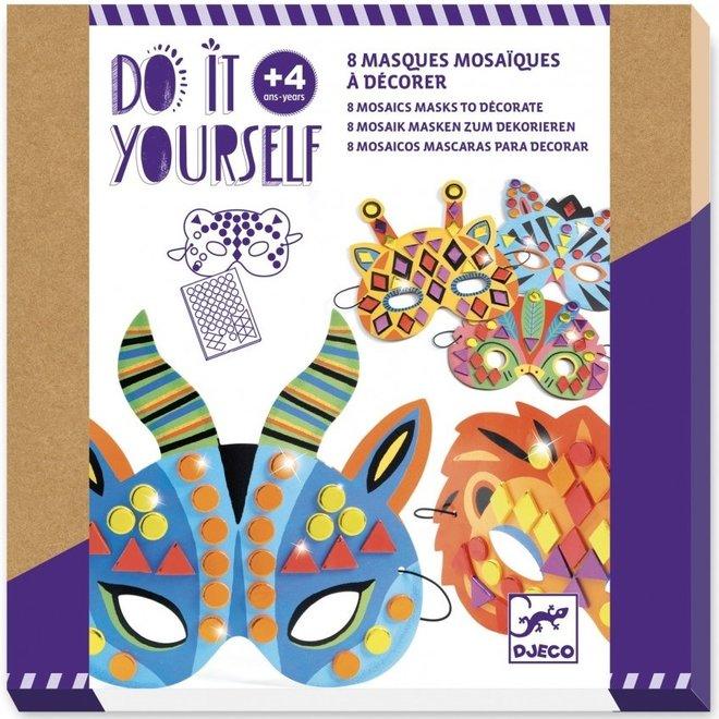 DIY Maskers decoreren - Jungle Dieren  (8stuks)
