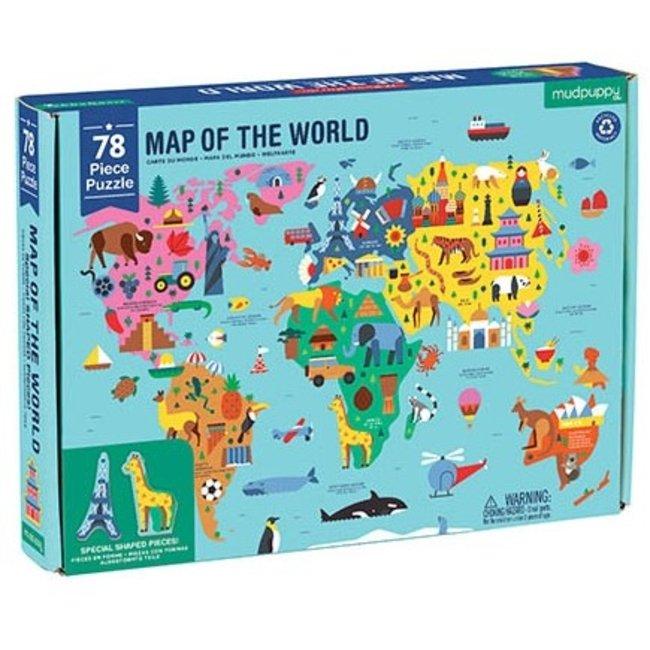 Mudpuppy Puzzel Map of the World - 78 stukken