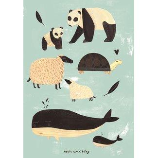 Petit Monkey Poster black + white animals mint 50 x 70 cm