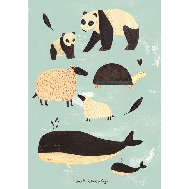 Poster black + white animals mint 50 x 70 cm