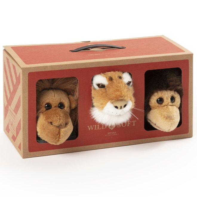 Jungle Geschenkdoos Mini Chimpansee-Tijger-Aap | Wild & Soft