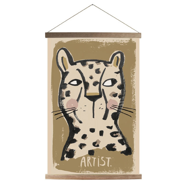 Canvas Leopard Schoolposter + Frame  45x65cm