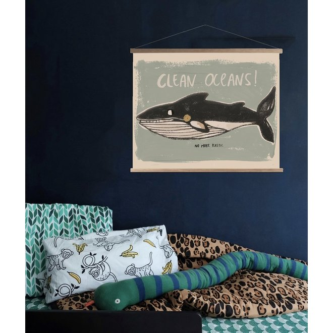 Canvas Clean Oceans Schoolposter + Frame  45x65cm