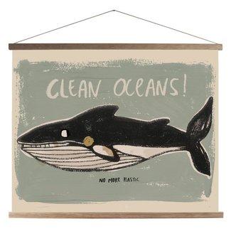 Studio Loco Canvas Clean Oceans Schoolposter + Frame  45x65cm