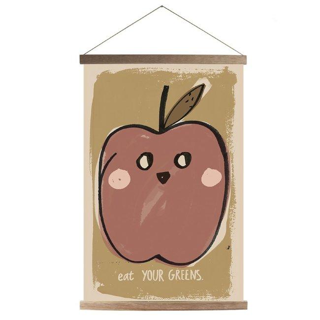 Canvas Apple Schoolposter + Frame  45x65cm
