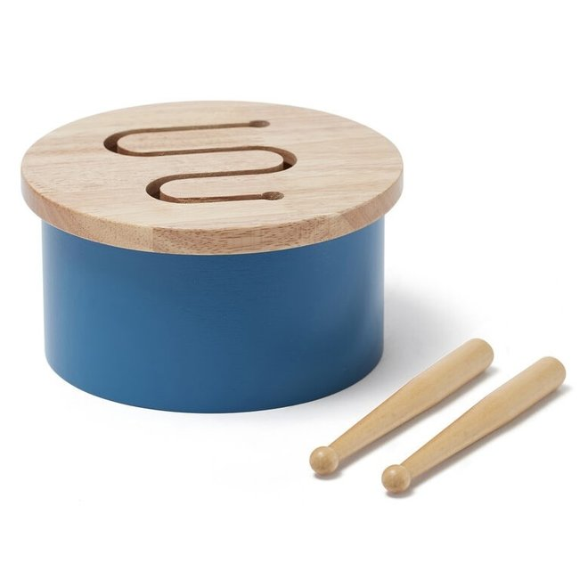 Mini houten trommel - Blauw
