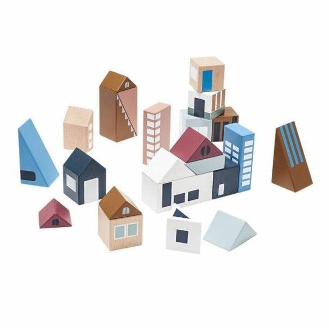 Houten Blokken City (21stuks) | Kid's Concept