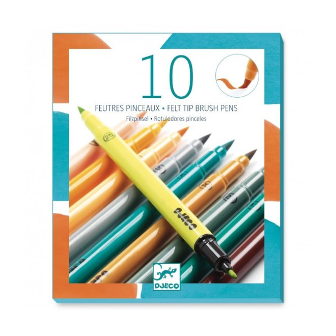 Dubbelzijdige viltstiften - Tertiaire kleuren 10 stuks