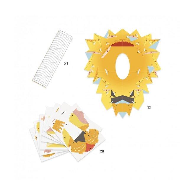 Vouwset 3D Poster Koning Leeuw  | Djeco