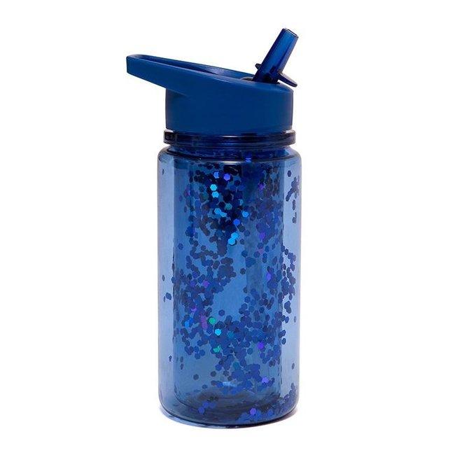Petit Monkey Drinkfles Glitter - Night blue