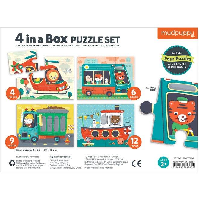 4-in-a-box Puzzel Voertuigen | Mudpuppy