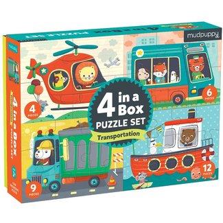 Mudpuppy 4-in-a-box Puzzel Voertuigen   Mudpuppy