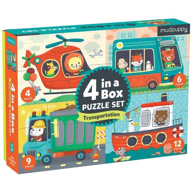 Mudpuppy 4-in-a-box Puzzel Voertuigen | Mudpuppy