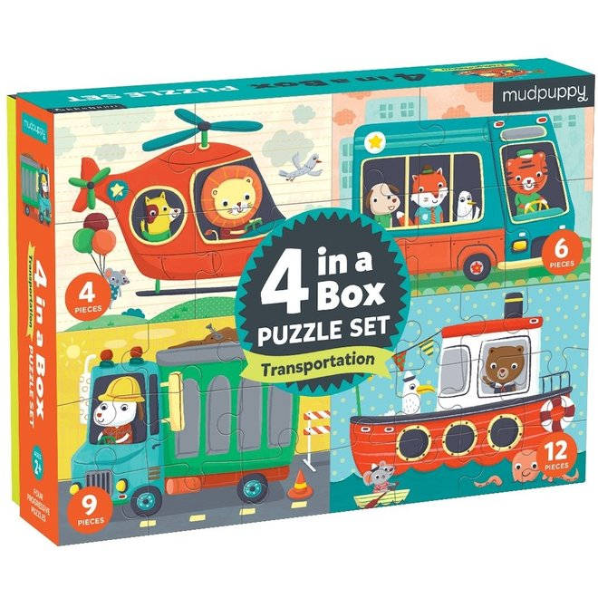 4-in-a-box Puzzel Voertuigen   Mudpuppy