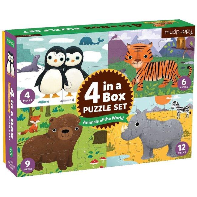 4-in-a-box Puzzel Animals of the World | Mudpuppy