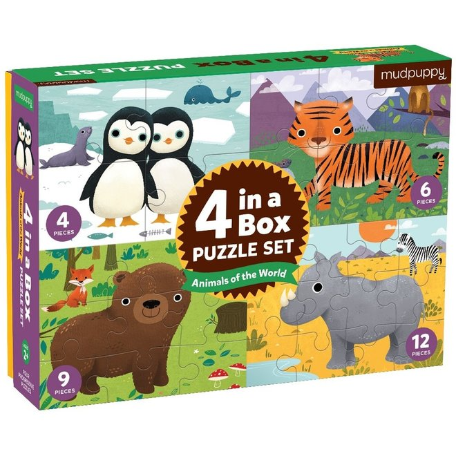 4-in-a-box Puzzel Animals of the World | Mudpuppy