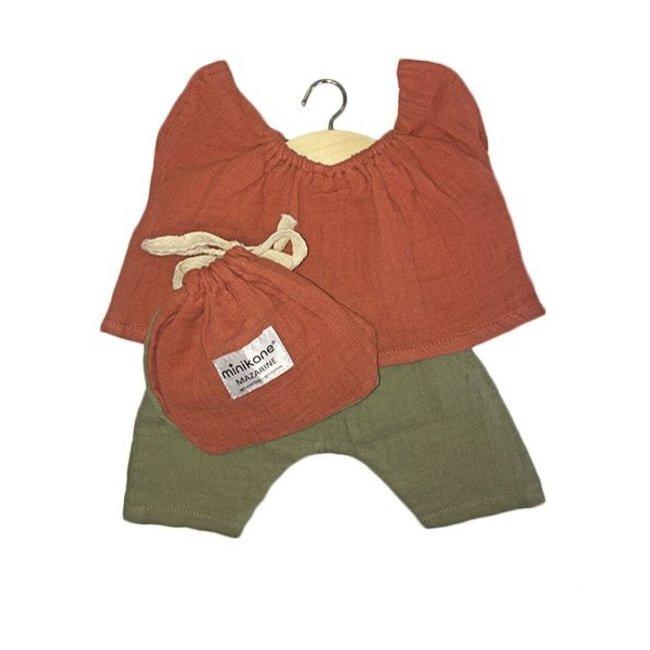 Poppen outfit - Terre de sienne & Vert olive
