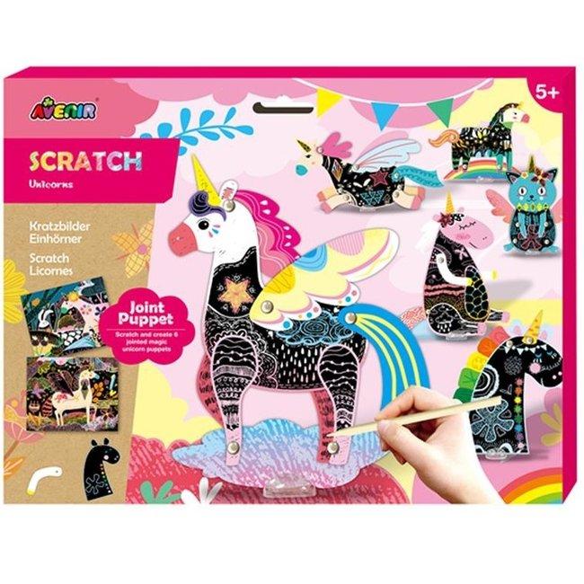 Knutselset Kras & Marionetpopje - Unicorns