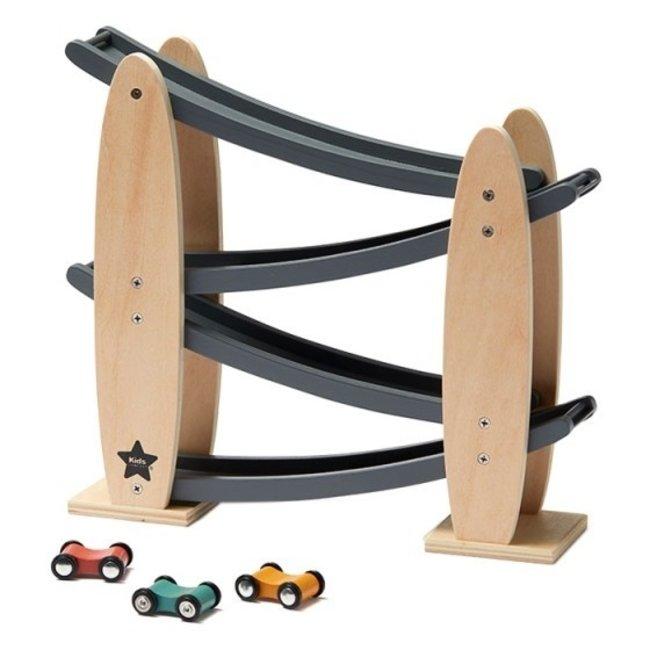 Kid's Concept Houten Racebaan Natuur/Grijs Aiden