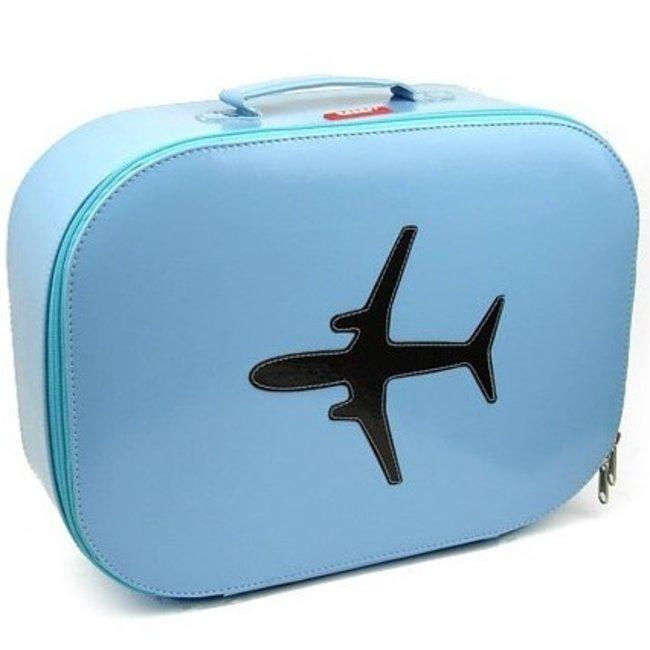 Bakker made with Love Koffer vliegtuig 'sky blue' - Bakker made with love