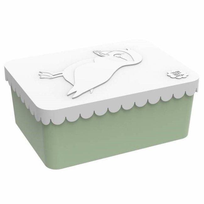 Brooddoos/lunchbox  Vogel wit-groen   Blafre